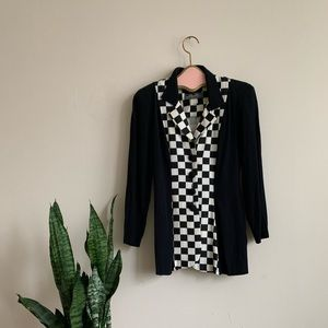 VTG 90's Black & White Checker Print Blazer Jacket